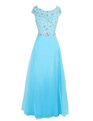 Dressystar Robe de soirée/Cérémonie Longue, Perlée, à paillettes Bleu
