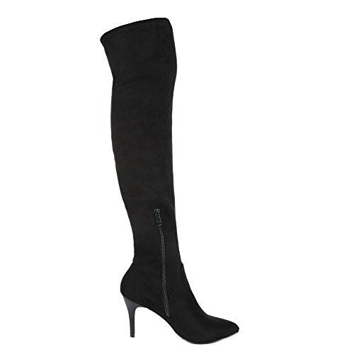 Overknee Stiefel Damen Schuhe Klassischer Stiefel Pfennig-/Stilettoabsatz High Heels Reißverschluss Ital-Design Stiefel Schwarz
