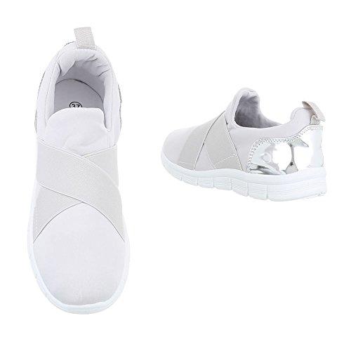 Ital-Design Low-Top Sneaker Damenschuhe Low-Top Sneakers Freizeitschuhe Hellgrau