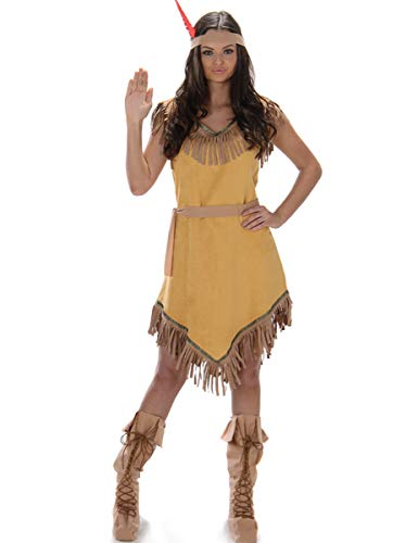 Indian Girl Ladies Fancy Dress Wild West Native American Womens Adults Costume (Native Indian Girl Kostüm)