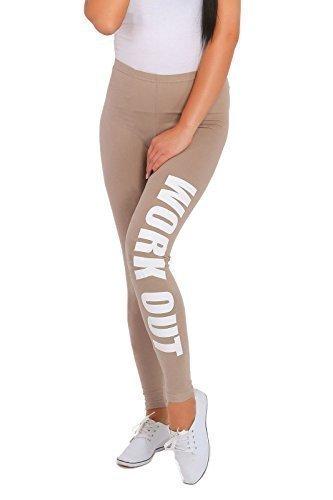 Beige Bedruckt (Futuro Fashion Workout Bedruckt Gesamtlänge Baumwolle Active Leggings Jogginghose Fitnessstudio Fitness - Beige, EU 44/46)