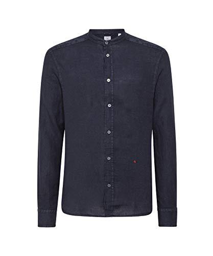 Peuterey ,camicia uomo,blu a manica lunga in lino,collo coreano (m)