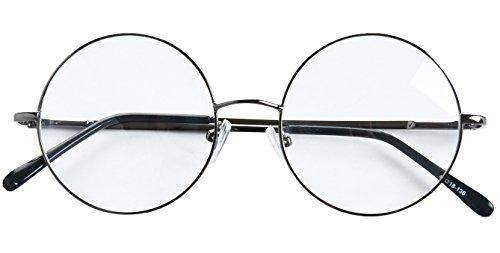 47ad4322d7f Agstum Round Retro Metal Prescription Ready Glasses Frame Clear Lens ( Gunmetal