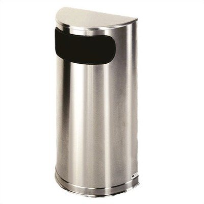 9 Gallon Half Round Stainless Steel Trash Can (Satin Stainless Steel) by Unknown