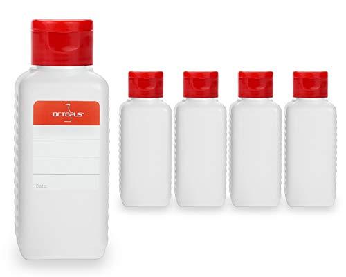 Octopus 5 x 100 ml Kunststoffflaschen, HDPE Plastikflaschen mit rotem Klappverschluss, Leerflaschen mit rotem Scharnierverschluss, Vierkantflaschen inkl. Beschriftungsetiketten - Koffer Octopus