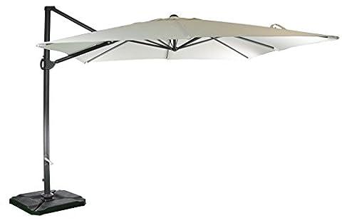 Parasol déporté | Sable | 300 x 300 cm | Carré / Rectangulaire | SORARA | ROMA | Polyester 250 g/m² (UV 50+)| Commande à manivelle & dispositif rotatif 360º | Incl. Couverture & pied en croix pour