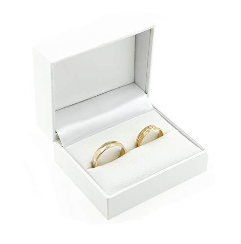 Écrin pour bague / boîte à bijoux pour Mariage/Saint-Valentin/Bague de Fiançailles, Blanc