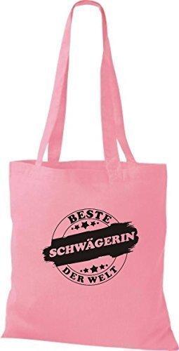 ShirtInStyle Stoffbeutel Baumwolltasche Beste SCHWÄGERIN der Welt rosa