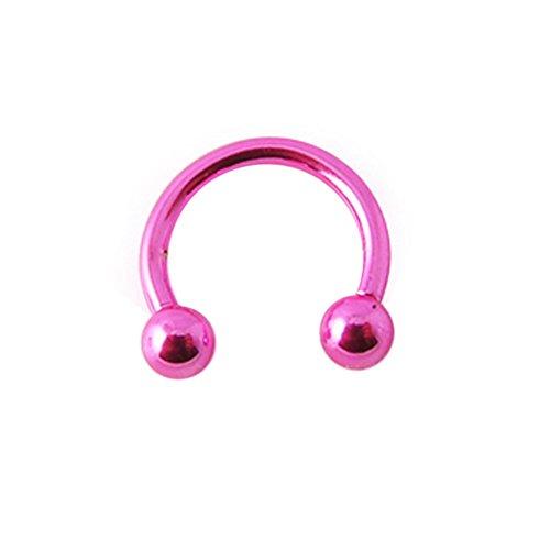 16 Gauge - 10MM Länge rosa Neon eloxiertem 316L chirurgischer Stahl Circular Barbell mit Kugel Septum Piercing