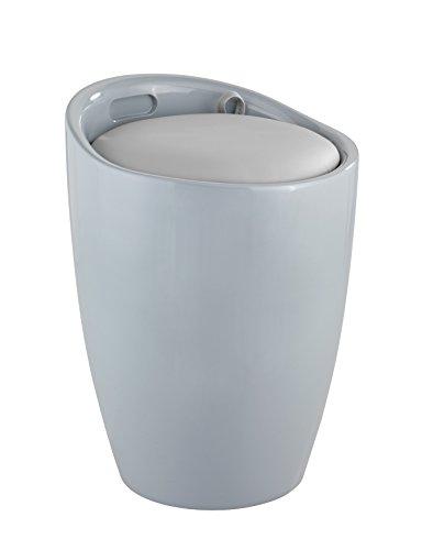 Wenko 25625100 Hocker Candy Wohn-/Badhocker, Wäschesammler mit abnehmbarem Wäschesack, Acrylnitril-Butadien-Styrol, grau, 36 x 36 x 50.5 cm