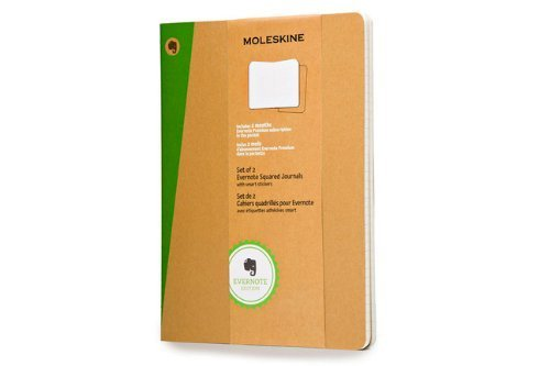 Moleskine Evernote Journal with Smart Stickers, Extra Large, (Set of 2), Squared, Kraft Brown, Soft Cover (7.5 x 10) by Moleskine(2014-03-26) (Evernote Journal Moleskine)