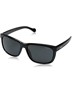 Arnette Slacker - Gafa de sol rectangular color negro brillante con lentes color gris, 59 mm