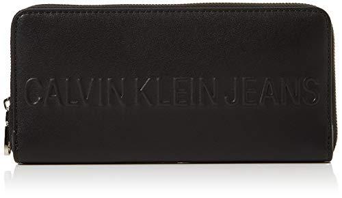 Calvin Klein Damen Box Large Ziparound Clutch, Schwarz (Black), 2.5x9.5x19 cm