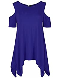 Femmes Découpe Épaule froid Batwing Long Shirt Top Tunic Dress