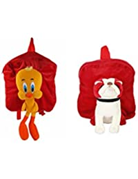 MGP Premium Tweety (Red) & Red Pug Dog Full Character Kids School Bag