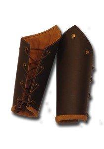 1 Paar Lederarmschienen mit Bändern und Ziernieten LARP Rüstung Schwarz oder Braun (Braun)