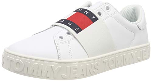 Hilfiger Denim Damen Slip on Cool Tommy Jeans Sneaker, Weiß (White 100), 40 EU - Classic Leather Lace