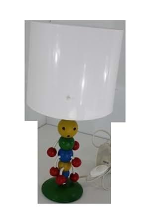§§ Lampe De Table, Chevet pour Enfants. Bois Chenille Multicolore et Abat-jour en blanc brillant. 12 volt Ampoule & transformateur fourni