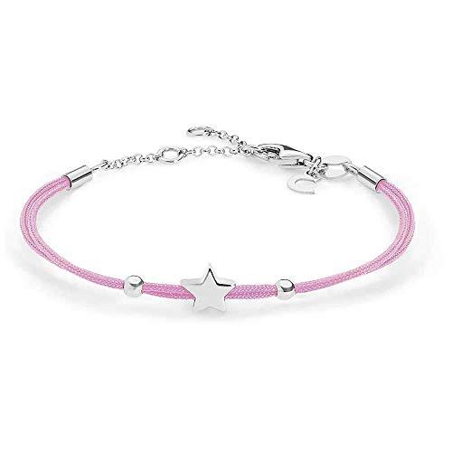 Bracciale donna comete stelle in argento 925 e codino rosa bra161