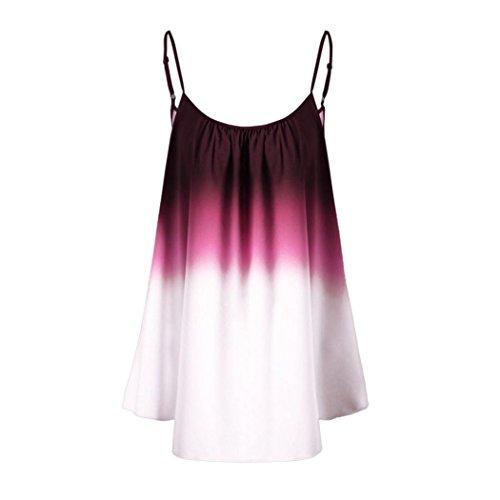 OSYARD Damen Lässige Farbverlauf ärmellose Ombre Cami Top Trim Tank Top Bluse(EU 46/XL, Wine)