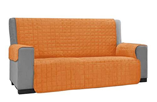 Copridivano copertura divano tinta unita anti macchia 2 posti no elastico novita: arancio