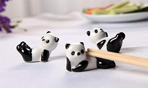 Aisence Cute Panda Chopsticks Rest Holder Set Chinese Ceramic Chopsticks Stand Spoon Fork Holder Rack Practical Tablewares Accessories,3 Pcs (Style B) Chopstick Stand