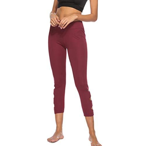 eggings 3/4 Sporthosen für Damen High Waist Yoga Pants Sport Workout Leggings Solid Fitness Training Gym Stretch Running Gamaschen(Weinrot,S) ()