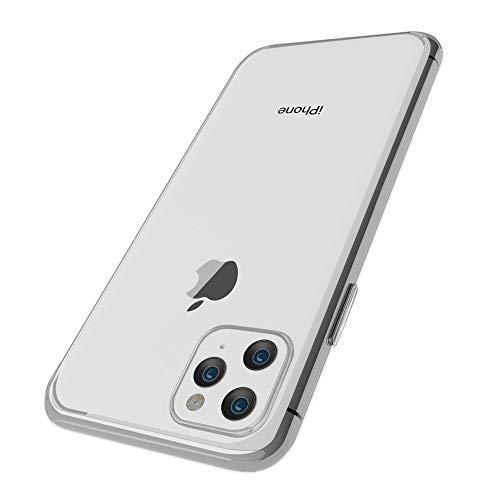 OWM Funda iPhone 11 Pro MAX Transparente de Carcasa de Teléfono Fina y Ligera Funda Protectora Antigolpes para iPhone 11 Pro MAX y Protector Pantalla Cristal Templado (2019) - Funda Transparente