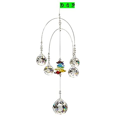 Discount4product Double Rainbow Mobile - Chakra - 5 Crystal Ball Attached - Rainbow Maker - Hanging Crystal Suncatcher Ornament - Home, Living Room, Bedroom, Kitchen, Outdoor Décor, Car Decoration - Porch Decor - Sun Catcher - Hangings Crystal Mobile