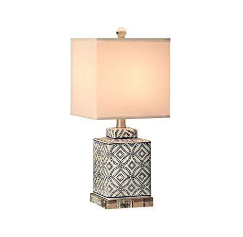 Lampe de table Lampe en porcelaine - grande lampe de table orientale en céramique - lampe de table en cristal créative moderne du salon Lampe de table à économie d'énergie