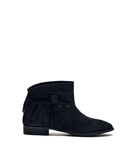 Poi Lei Damen-Schuhe Fransenstiefelette Amy Schwarz Stiefeletten Flach Veloursleder