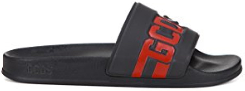GCDS Herren SS18M010021 Schwarz PVC Sandalen