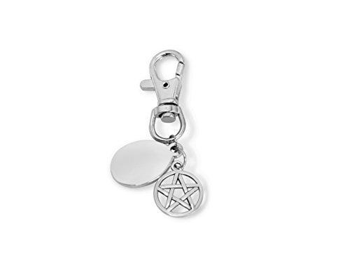 personnalisé gravé / personnalisé Pentagram Porte-clés avec pochette cadeau - PL85