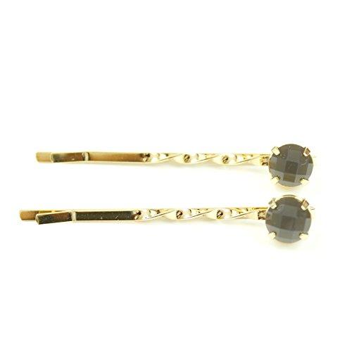 rougecaramel - Accessoires cheveux - Mini pince fantaisie métal doré 2pcs - gris