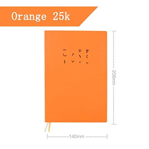 EUHOKD Cuaderno Dorado Cubierta De Tapa Dura Hilo Encuadernado Núcleo Interno Cuaderno De Oficina Hojas De Boceto Diario Diario Planificador Naranja 25K