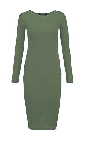 Islander Fashions Womens Plain Manches longues Stretch Midi Dress Dames Bodycon Jersey Maxi Dress S / 3XL Kaki