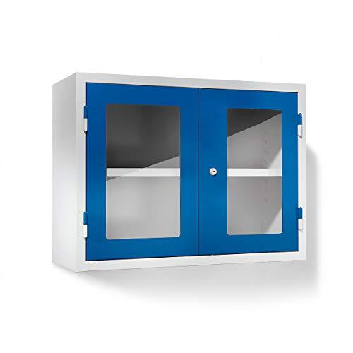 QUIPO Werkstatt-Hängeschrank, HxBxT 600 x 800 x 320 mm, Sichtfenstertüren, enzianblau RAL 5010 -...