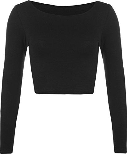 Elle Neuf pour femme Crop T-shirt à manches longues pour femme Court Uni col rond Top 8–14 Noir