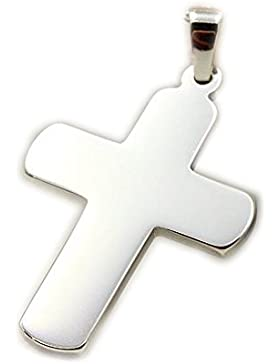 ASS 925 Silber Kommunion Konfirmation Firmung Großer Kreuzanhänger Anhänger Kreuz massiv,flach, rhodiniert,poliert...