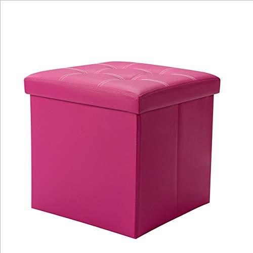 Paddia Zusammenklappbare Lagerung Osmanenkiste Spielzeugkiste Osmanische Kunstlederwürfelauflage Fußhocker mit hochelastischem Schwamm Füllung Cube Sitzbank für Wohnzimmer Schlafzimmer Büro Schwarz 38 - Schwarz Osmanischen Folding