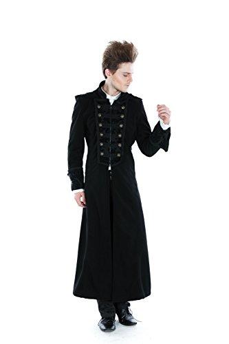 Manteau gothique à capuche homme style laine Noir