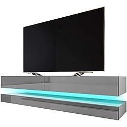 Selsey HYLIA - Meuble TV Suspendu/Meuble de Salon Mural (Blanc Mat/Gris Brillant, 140 cm, avec LED)