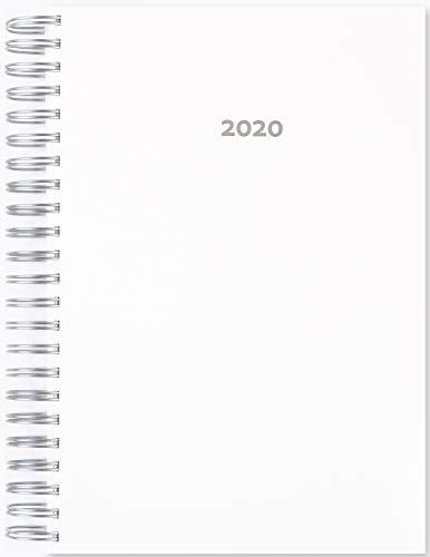 2020 großer Praxiskalender WEISS (weiß / white) - DIN A4, 1 Tag pro Seite, Uhrzeitskala 7-21h
