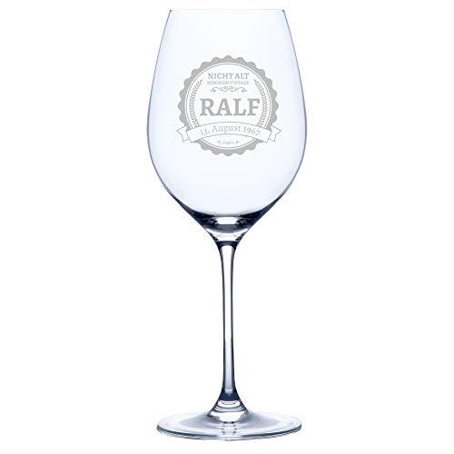Personello Graviertes Weinglas (Motiv Label), Rotweinglas mit Gravur (mit Name, Datum und Spruch...