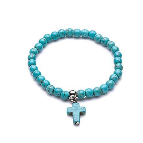 XIANNU Damen Armband,6 Armbänder mm Naturstein Perlen Kreuz Damenmode Naturstein Armbänder für Frauen Classic elastisches Armband blau