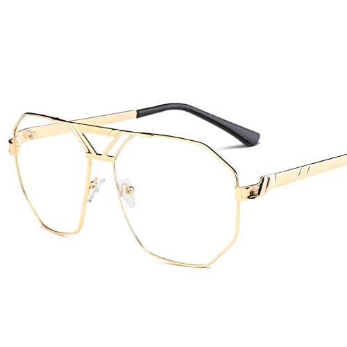 Sonnenbrille,Unisex Classic Mode Unregelmäßige Persönlichkeit Sonnenbrille Metall Frauen Männer Fashion Klare Meer Linsen Uv-Schutz Gold Transparent