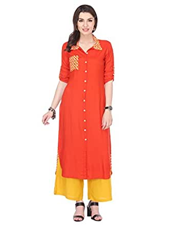 Riti Riwaz Rayon Orange Printed Shirt 3/4 Sleeve Straight kurta MNMAW16101055-XXL_