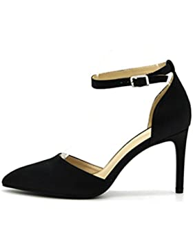 QPYC Tacchi alti a punta tacchi alti scarpe con tacco alto a punta fine , black , 40