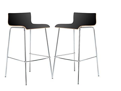 MAUSER SITZKULTUR 2er-Set Design Barhocker / Barstuhl in schlanker Form, Holzdeckor schwarz, Gestell glanzverchromt; M225