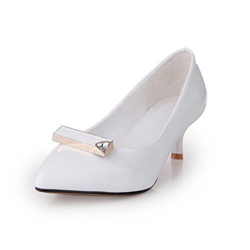 VogueZone009 Donna Luccichio Puro Tirare Scarpe A Punta Tacco Medio Ballerine Bianco